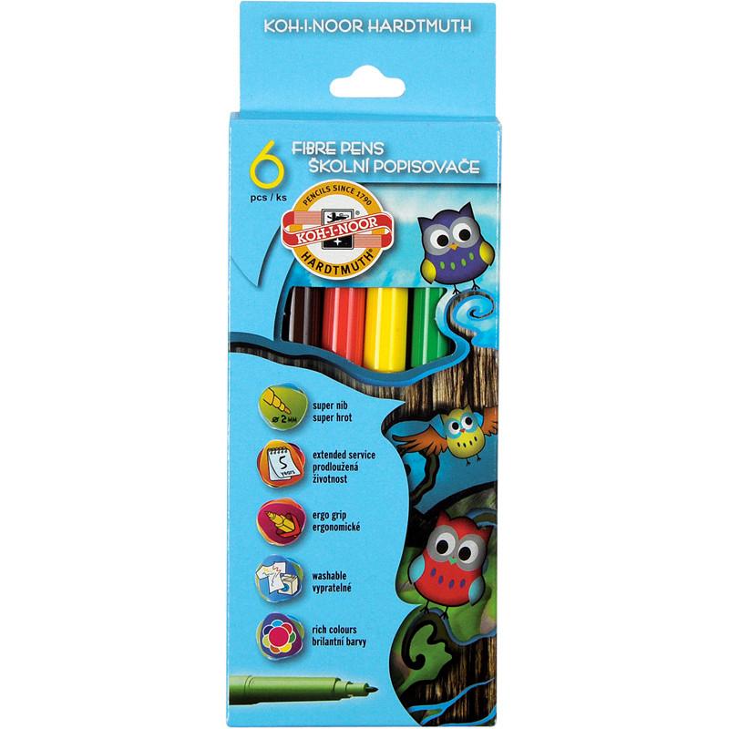 Фломастеры Koh-i-noor 6 цветов Совята картон упак. 1012СВ/6