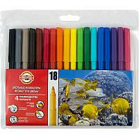 Фломастеры Koh-i-noor 18 цветов пластик упак. 7710ЕТ/18