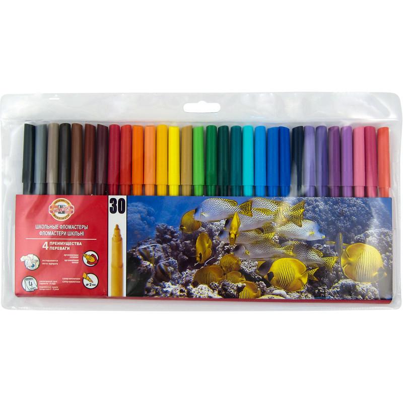 Фломастеры Koh-i-noor 30 цветов пластик упак. 7710ЕТ/30