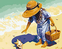 Раскраска по номерам MENGLEI Ракушка на берегу моря (MG037) 40 х 50 см
