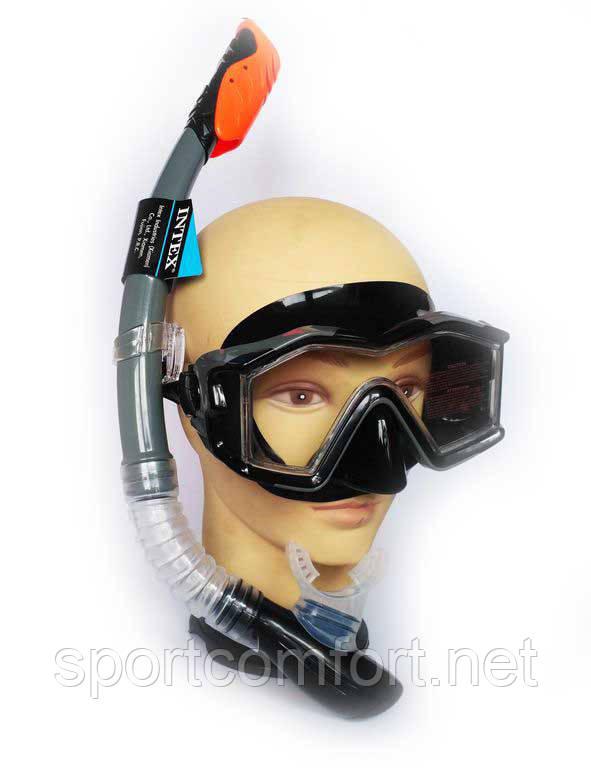 Маска с трубкой  для плавания Intex с панорамным обзором, закаленным стеклом и черным силиконом