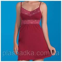 Женская ночная сорочка с кружевом, бордовый
