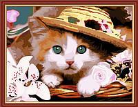 Картина раскраска MENGLEI Котёнок в шляпе (MG177) 40 х 50 см, фото 1