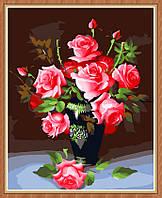 Раскраска по номерам MENGLEI Розовые розы (MG079) 40 х 50 см, фото 1