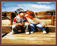 Раскраска по цифрам MENGLEI Первая любовь (MG140) 40 х 50 см, фото 1