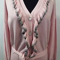 Нарядная кофта розового цвета на пуговицах, отделка рюша, р. 44-46