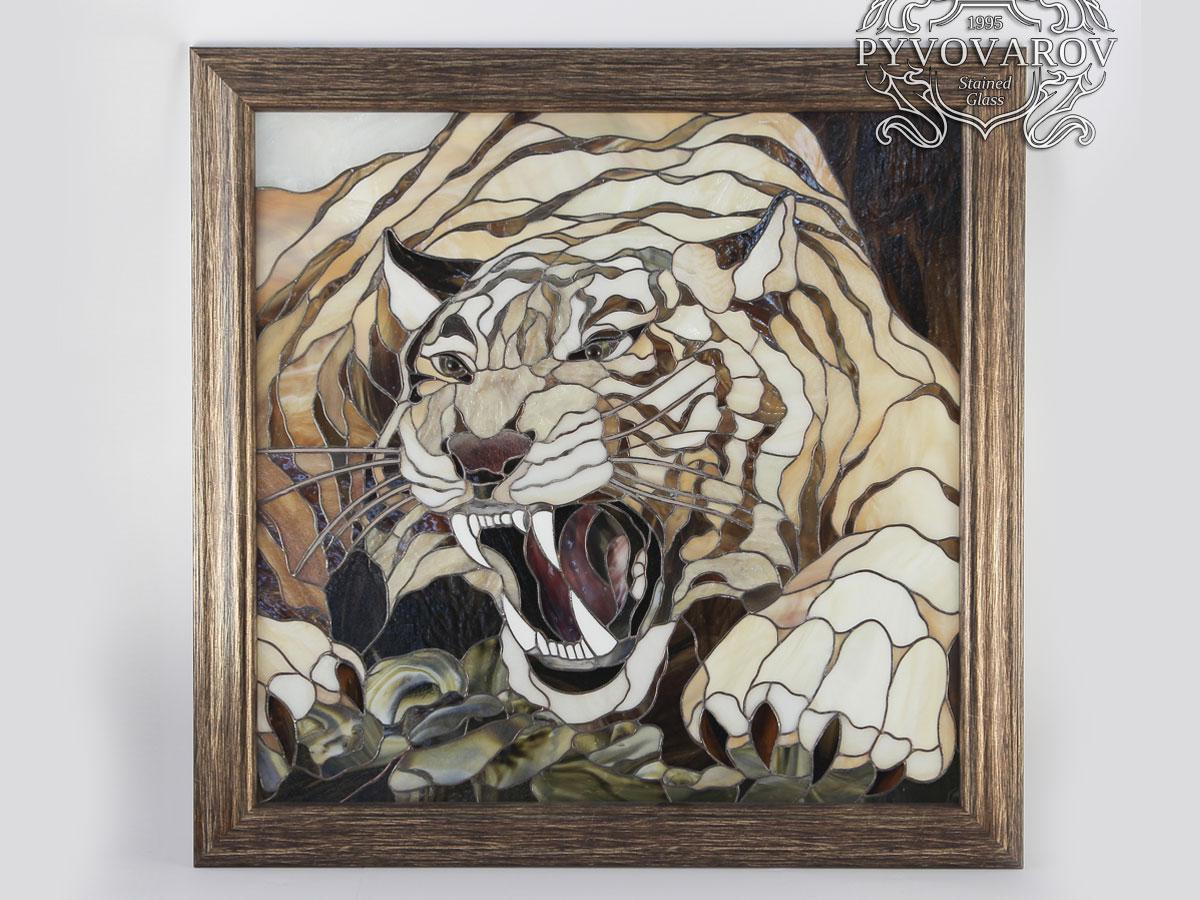 Картины из стекла оскал Тигра