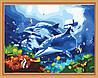 Картина раскраска MENGLEI Дельфины с кораловыми рыбками (MG204) 40 х 50 см