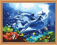 Картина раскраска MENGLEI Дельфины с кораловыми рыбками (MG204) 40 х 50 см, фото 1