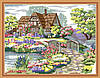 Картина раскраска MENGLEI Домик в цветах у реки (MG172) 40 х 50 см