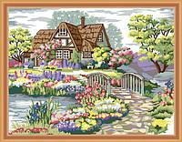 Картина раскраска MENGLEI Домик в цветах у реки (MG172) 40 х 50 см, фото 1