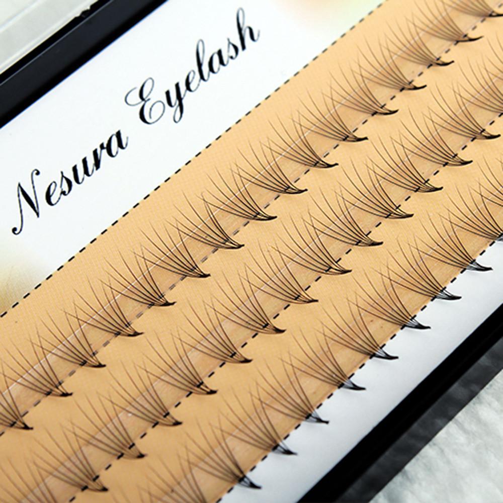 60 безузелковых пучковых ресниц ручной работы Nesura 10 мм