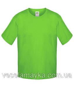 Ярко-салатовая детская футболка Премиум