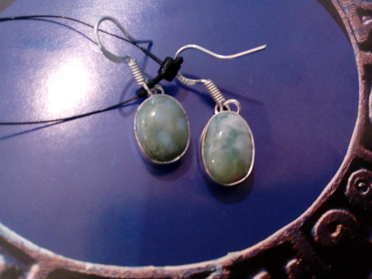 Серьги с ларимаром. Серьги с натуральным камнем ларимар (Доминикана) в серебре.