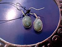 Серьги с ларимаром. Серьги с натуральным камнем ларимар (Доминикана) в серебре., фото 1