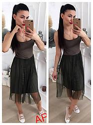 Платье (Фабричный Китай). Цвет серый ,коричневый,чёрный беж , графит ,марсала,хаки. (14002)