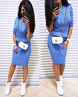 Костюм женский стильный вязка кофточка и юбка 4 цвета Kol778