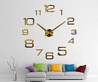 Большие 3-D  часы арабские цифры №2 золото  разные цифры