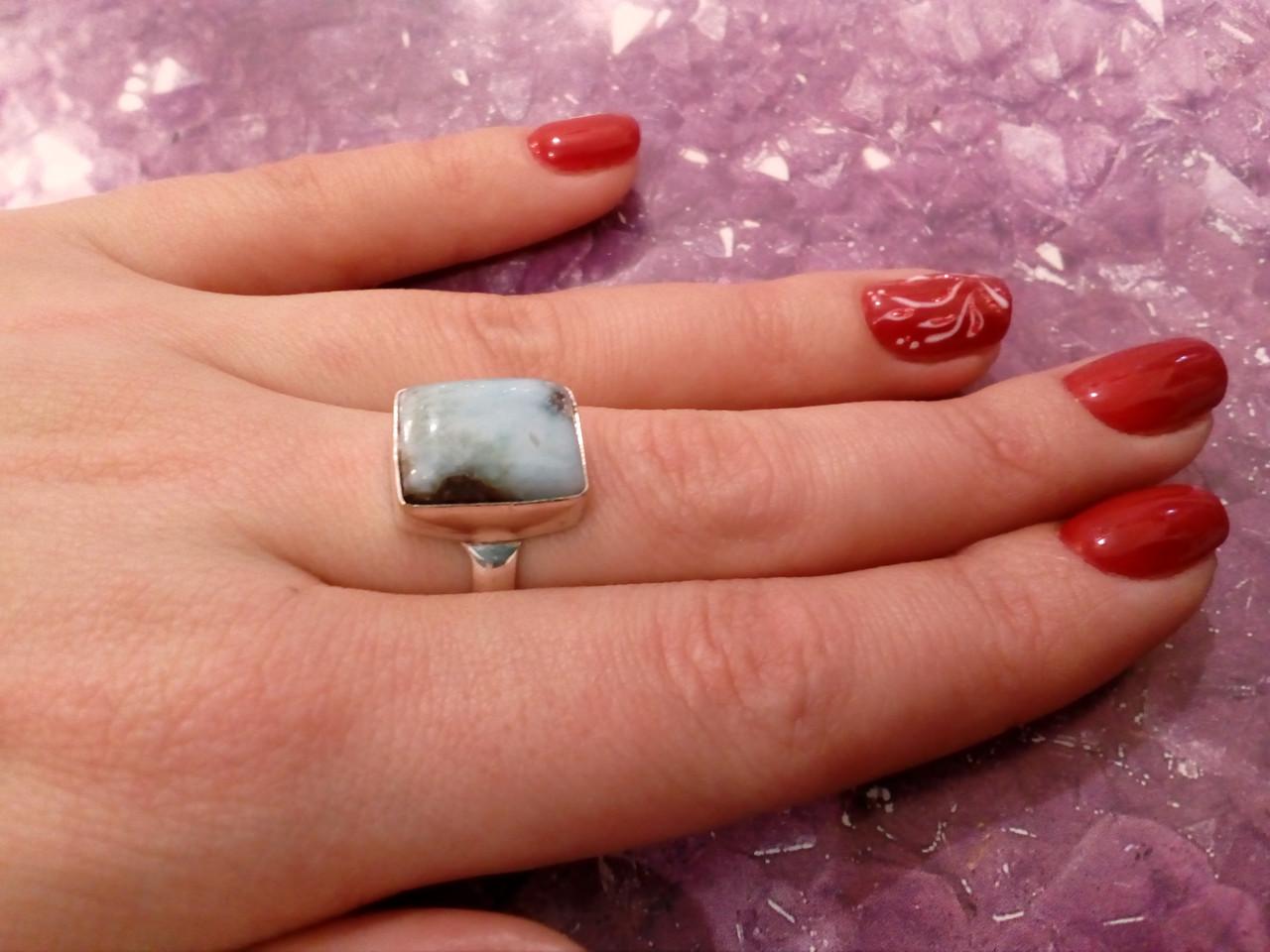 Кольцо с натуральным карибским ларимаром. Кольцо ларимар 18 размер Индия!