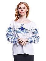 """Рубашка вышиванка женская """"3 Мака"""" синяя"""