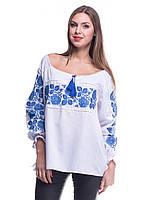 """Рубашка вышиванка женская """"Троянда"""" синяя"""