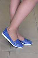Балетки летние кожаные синие, фото 1