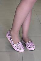 Балетки летние розовые кожаные, фото 1