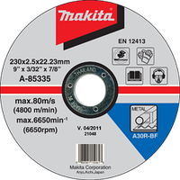 Отрезной диск по металлу 230x2,5x22,23мм Makita A-85335
