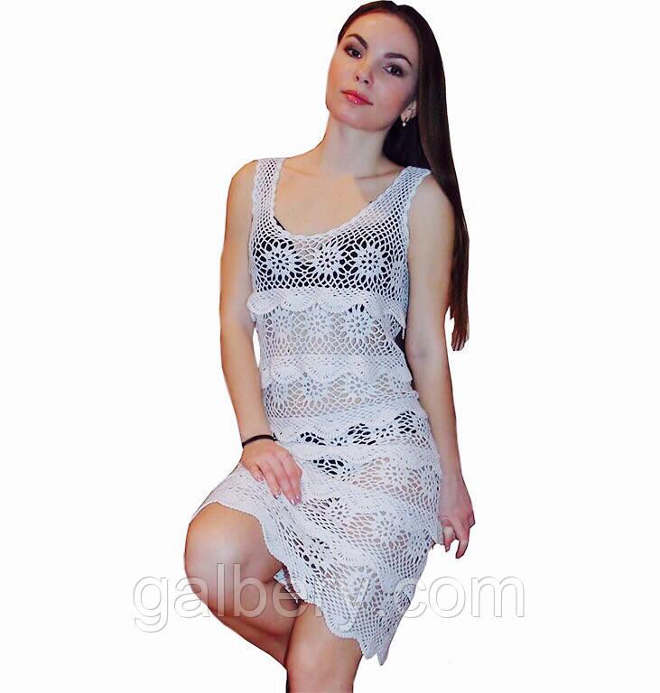 cacc690360a Эксклюзив Вязаное крючком летнее платье с ажурными принтами