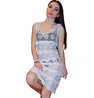 """Вязаное платье с ажурными принтами """"фестоны"""" ручной работы белого цвета"""