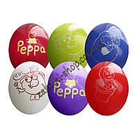 Латексные воздушные шары GD90 Gemar Италия, расцветка: Пастель с рисунком Пеппа, Лунтик, маша и Медведь, Смеша