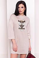 Молодежное платье бежевого цвета с нашивкой сова. Модель 34266