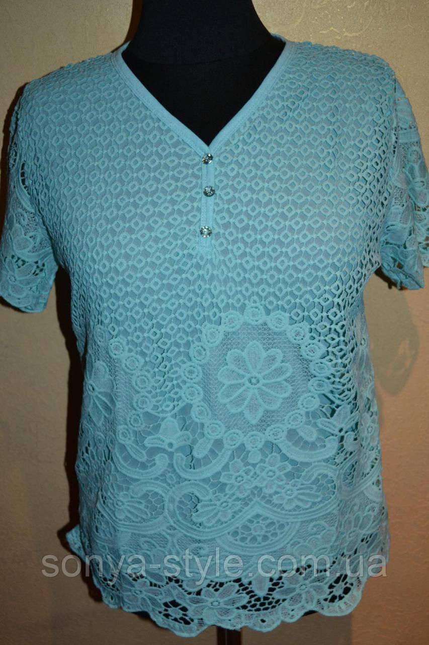 """Женская блузка """" кружева 832 """" больших размеров"""