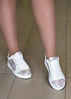 Кеды кожаные белые с принтом, фото 1