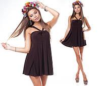 Коричневое платье-туника