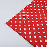 Лоскут ткани №195а ткань с белым 1см горошком на красном фоне, размер 29*80 см, фото 3