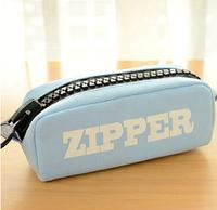 Пенал школьный большой на молнии Zipper голубой