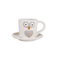 Сова-18 Чашка с блюдцем 180мл,7,5*6,9*12 см белая