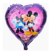Фольгированные воздушные шары, форма:сердце Микки и мини маус I Like You, 18 дюймов/45 см, 1 штука