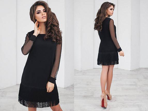 Черное платье с бахромой, фото 2