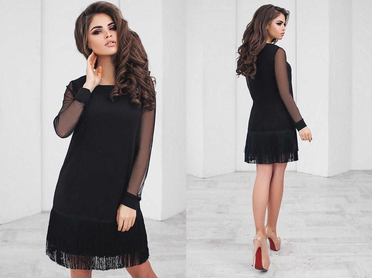 01fadf8577c Черное платье с бахромой - All You Need - прямой поставщик женской одежды  оптом и в