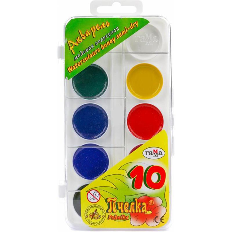 Краски акварельные Пчёлка Гамма 10 цветов пластуп 212038