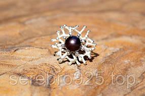 Серебряное кольцо с натуральным черным жемчугом 17 размер
