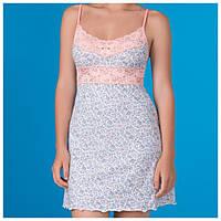 Женская ночная сорочка в цветочный принт, василек+персик