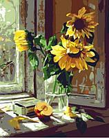 Набор для рисования MENGLEI Подсолнухи на окне (MG283) 40 х 50 см, фото 1