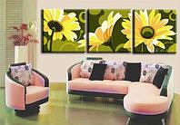 Рисование по номерам MENGLEI Триптих. Полевые цветы (MN3008) Триптих 40 х 120 см, фото 1