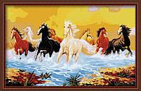 Раскраска по номерам MENGLEI Восьмерка (лошади)  (MG510), фото 1