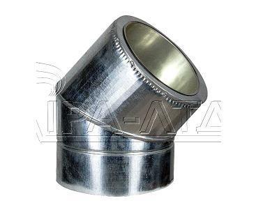 Колено 45гр термо нерж/оц  Ф120/180мм 0,5мм