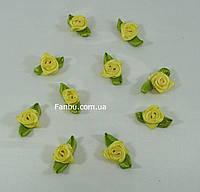 Маленькая тканевая розочка желтая 1.3см*2см(1 упаковка 10розочек), фото 1