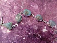 Красивый браслет с ларимаром. Браслет - природный ларимар (Доминиканская бирюза) в серебре., фото 1